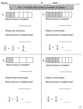 Introduction to Adding Fractions FREEBIE