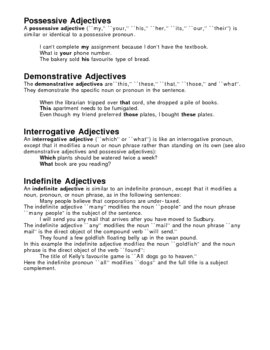 Introduction to Adjectives Overhead