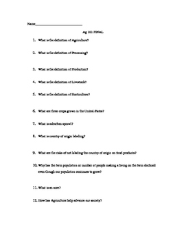 Introduction to Agriculture Final