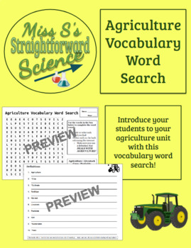 Introduction to Agriculture Vocabulary Word Search