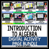 Introduction to Algebra Digital Activity Page Bundle