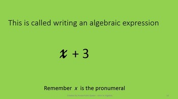 Introduction to Algebra - PowerPoint with activities for students