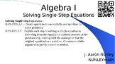 Introduction to Algebra -- Properties and Single-Step Equations