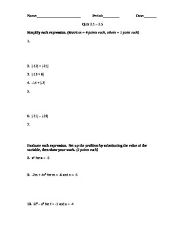 Introduction to Algebra - Quiz