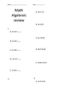 Introduction to Algebra Worksheet - No Prep!