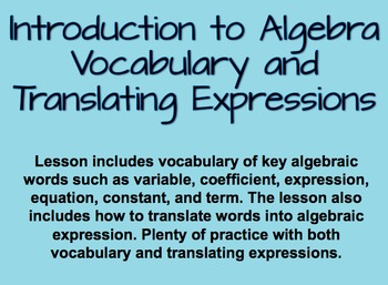 Introduction to Algebra and Translating Algebraic Expressions SmartBoard Lesson