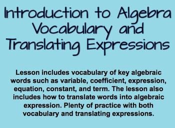 Introduction to Algebra and Translating Algebraic Expressi