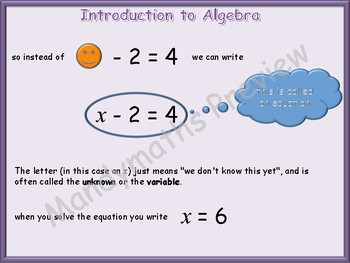Introduction to Algebra equations animated PowerPoint + Worksheets