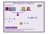 Introduction to Algebra equations animated PowerPoint + Wo