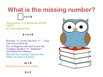 Introduction to Algebra lesson plan - multiplication