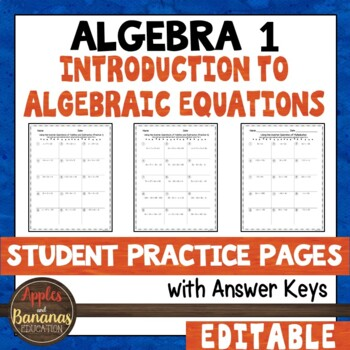 Introduction to Algebraic Equations Student Practice Pages