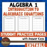 Introduction to Algebraic Equations - Editable Student Pra