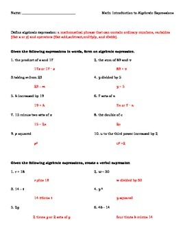 Introduction to Algebraic Expressions