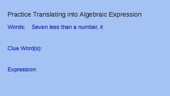 Introduction to Algebraic Expressions Power Point 7.EE