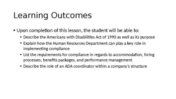 Introduction to American's with Disabilities Act (ADA)