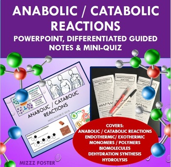 Introduction to Anabolic / Catabolic Reactions Presentation, Notes and Mini-quiz
