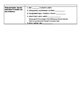 Introduction to Analogies Cornell Note Style