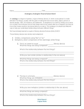 Introduction to Analogies (elementary/middle school grades)