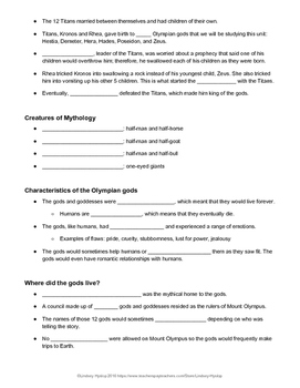 Introduction to Ancient Greek Mythology Student Notes