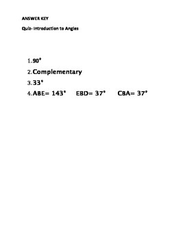 Introduction to Angles Quiz/Worksheet- with Answer Key