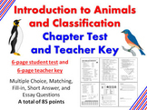 Introduction to Animals and Classification Chapter Test and Teacher Key