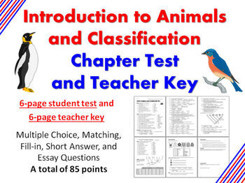 Introduction to Animals and Classification Chapter Test an