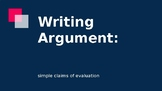 Introduction to Argument Writing with Guided Notes