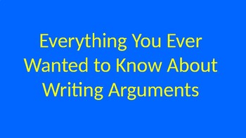 Introduction to Arguments Notes PowerPoint