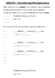 Introduction to Arrays (Multiplication) Worksheet