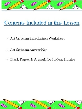 Introduction to Art Criticism