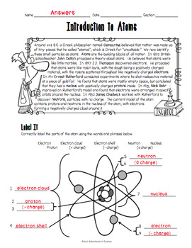 introduction to atoms worksheet by adventures in science tpt. Black Bedroom Furniture Sets. Home Design Ideas