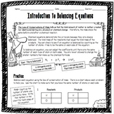 Introduction to Balancing Chemical Equations Worksheet