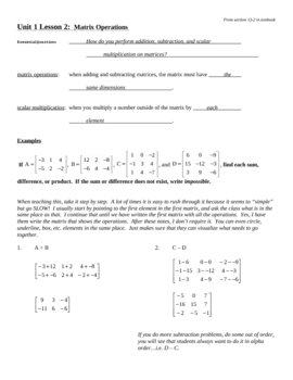 Introduction to Basic Matrix Operations Notes Outline