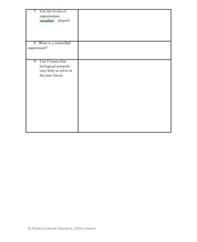 Introduction to Biology Chapter 1 and 2 Notes