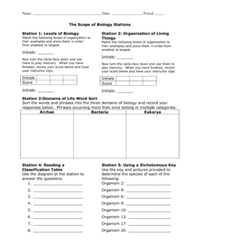 Introduction to Biology Learning Stations