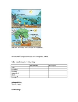Biology for Non-Majors Introduction to Biology Note Sheet