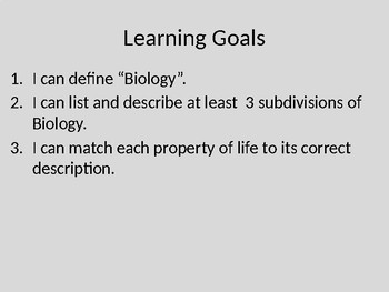 Introduction to Biology & Properties of Life