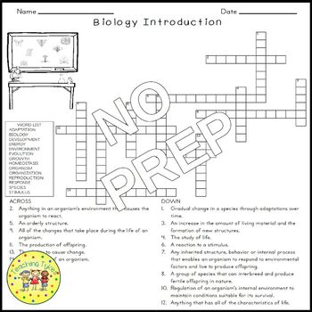 Introduction to Biology Science Crossword Coloring Worksheet Middle School