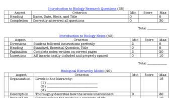 Intro to Bio Student & Teacher Notes