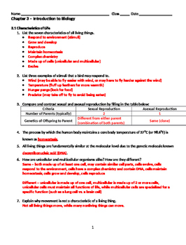 Introduction to Biology Worksheet
