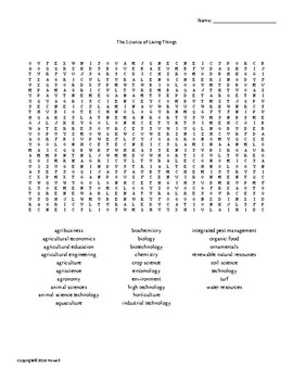 The Science of Living Things Word Search for Ag. Science Students
