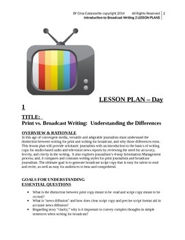 Introduction to Broadcast Writing:  2 Lesson Plans