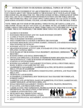 Introduction to Business/Business Concepts/Business 101- General Topics of Study