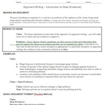 Introduction to CCSS Argument Writing: Claims and Evidence/Data