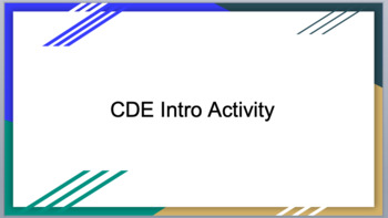 Introduction to CDEs and FFA Activity- Agriculture