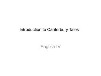 Introduction to Canterbury Tales Powerpoint