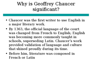 Introduction to Canterbury Tales and Geoffrey Chaucer