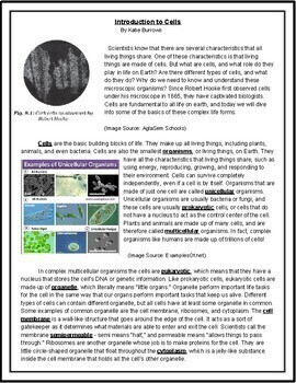 Introduction to Cells Reading Passage