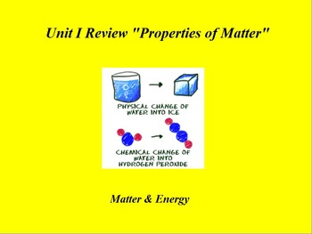 """Introduction to Chemistry ActivInspire Unit I Review """"Properties of Matter"""""""
