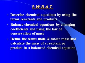 """Introduction to Chemistry Lesson I """"Describing Chemical Reactions"""""""